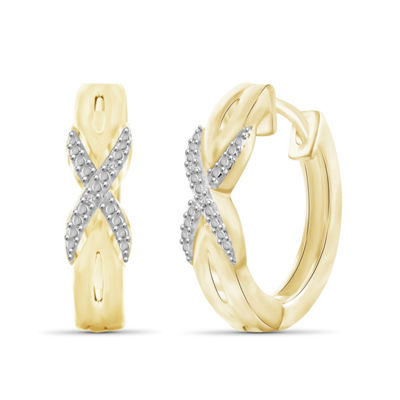 Diamond Accent White Diamond 19.9mm Round Hoop Earrings