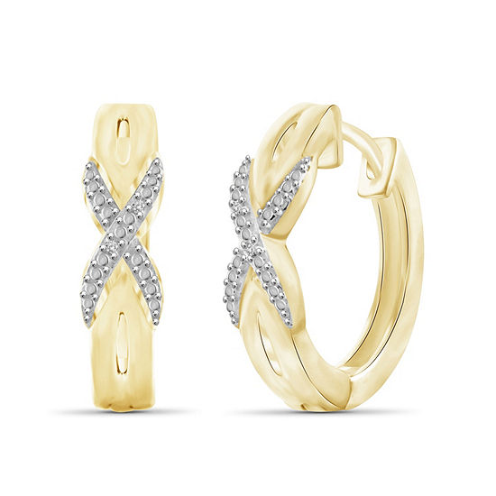 Diamond Accent White Diamond 14K Gold Over Brass 19.9mm Round Hoop Earrings