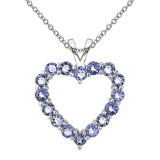 Womens Blue Tanzanite Sterling Silver Heart Pendant Necklace