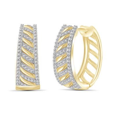 Diamond Accent White Diamond 14K Gold Over Brass 23.4mm Round Hoop Earrings