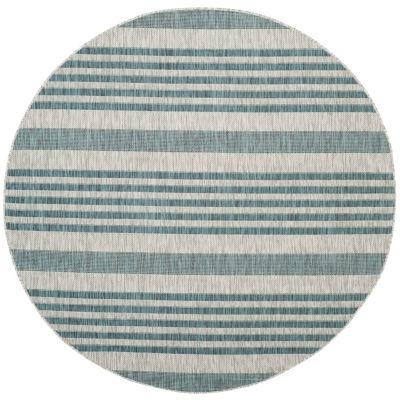 Safavieh Courtyard Collection Major Stripe Indoor/Outdoor Round Area Rug