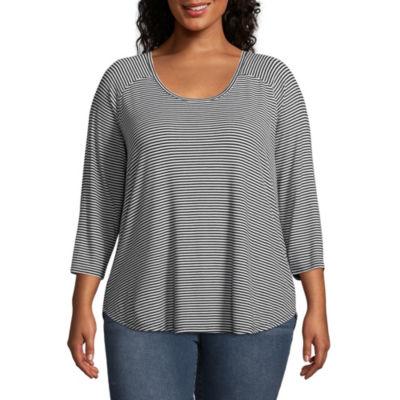 a.n.a 3/4 Sleeve Scoop Neck Stripe T-Shirt - Plus