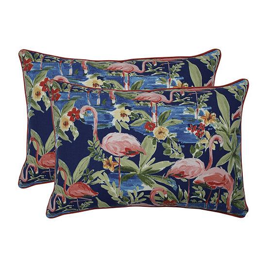Pillow Perfect Flamingoing Lagoon Set of 2 Oversized Rectangular Outdoor Throw Pillows