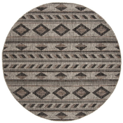 Safavieh Courtyard Collection Luana Geometric Indoor/Outdoor Round Area Rug