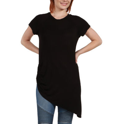 24/7 Comfort Apparel Zola Asymmetric Short Sleeve Tee - Plus