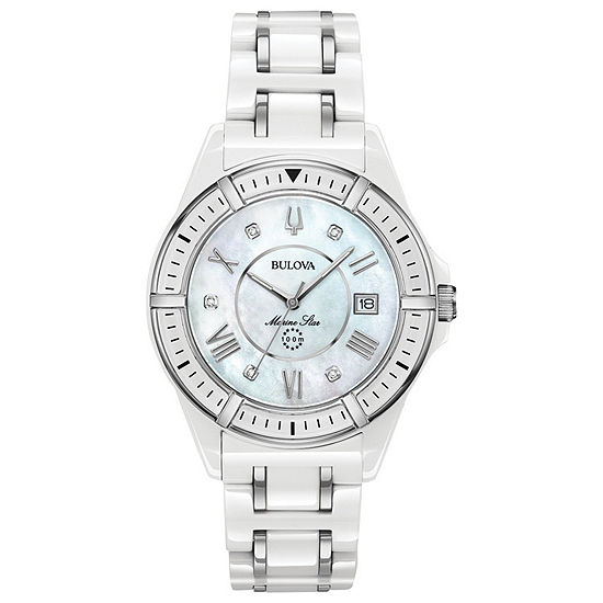 Bulova Marine Star Womens Diamond Accent White Strap Watch-98p172