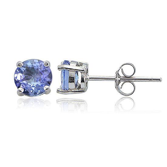Blue Tanzanite Sterling Silver 5mm Stud Earrings