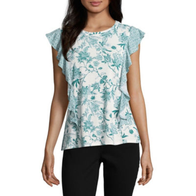 Como Blu Sleeveless Crew Neck Jersey Blouse