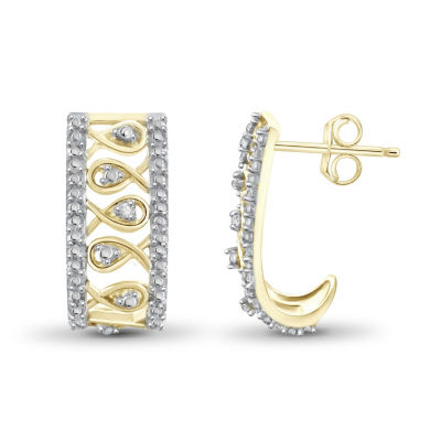 Diamond Accent White Diamond 14K Gold Over Brass 17.6mm Round Hoop Earrings
