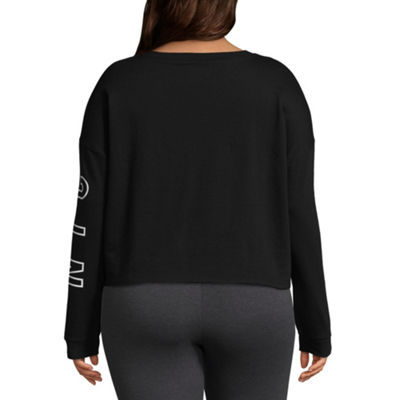 Flirtitude Womens Round Neck Long Sleeve Sweatshirt Juniors Plus