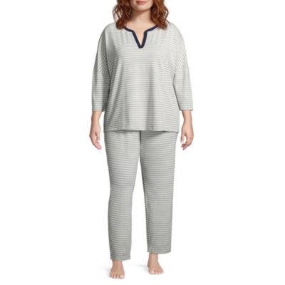 Liz Claiborne Knit Pant Pajama Set-Plus