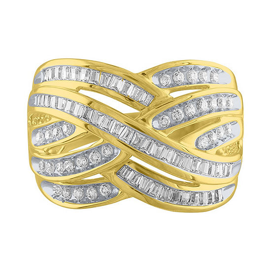 Womens 1 Ct Tw Genuine White Diamond 10k Gold Cocktail Ring