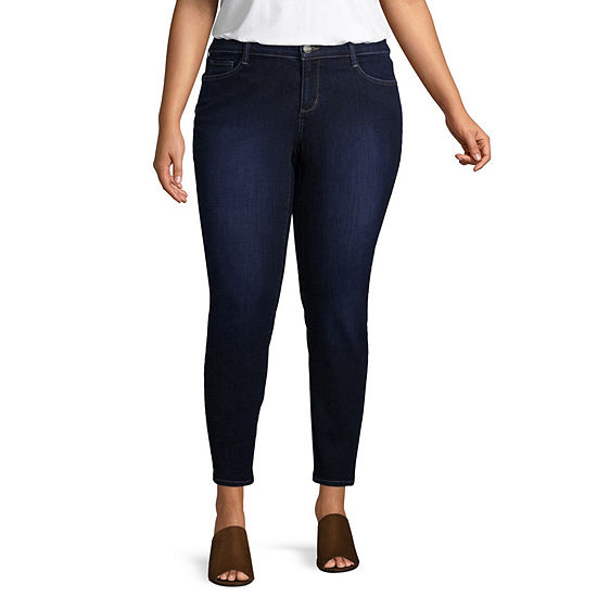 Arizona Womens Mid Rise Skinny Fit Jean - Juniors Plus