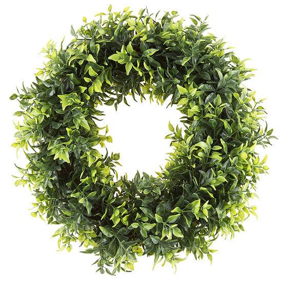 Pure Garden 115 In Artificial Opal Basil Leaf Wreath