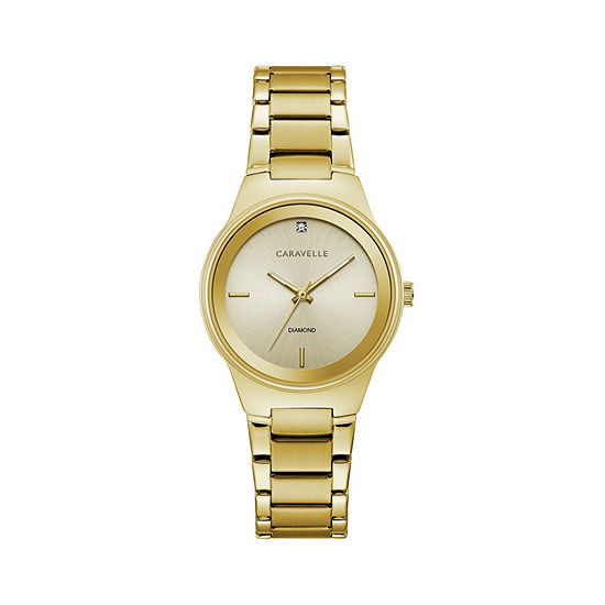 Caravelle Designed By Bulova Womens Gold Tone Stainless Steel Bracelet Watch-44p101