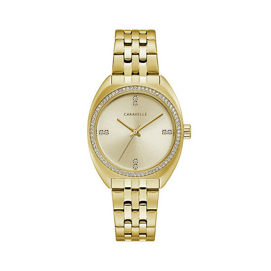 Caravelle Designed By Bulova Womens Gold Tone Stainless Steel Bracelet Watch-44l250