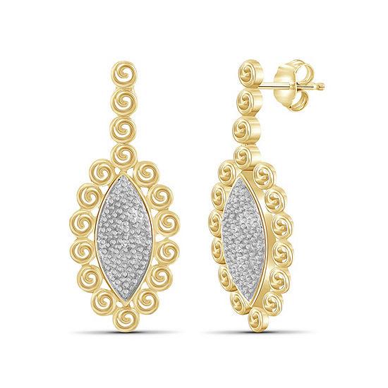 Diamond Accent White Diamond 14K Gold Over Brass Round Earring Jackets