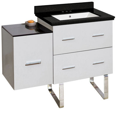 37.75-in. W Floor Mount White Vanity Set For 3H4-in. Drilling Black Galaxy Top White UM Sink