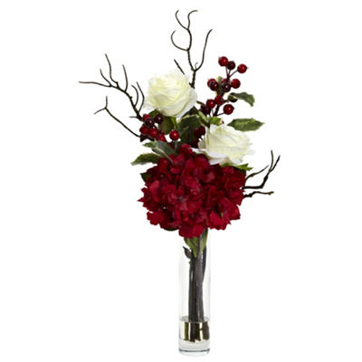 Nearly Natural Merry Christmas Rose Hydrangea Arrangement