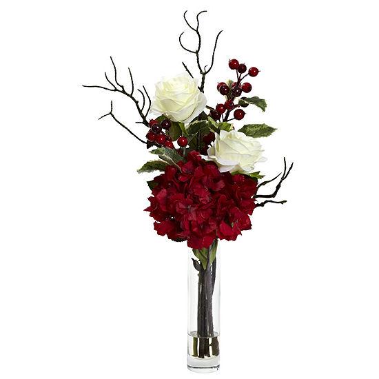Nearly Natural Merry Christmas Rose Hydrangea Arrangement