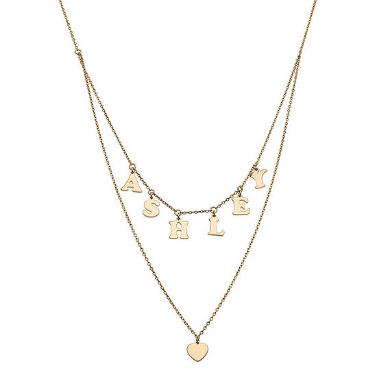Personalized Womens 14K Gold Over Silver Heart Pendant Necklace