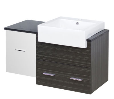 36.75-in. W 18-in. D Modern Wall Mount Plywood-Melamine Vanity Base Set Only In White-Dawn Grey