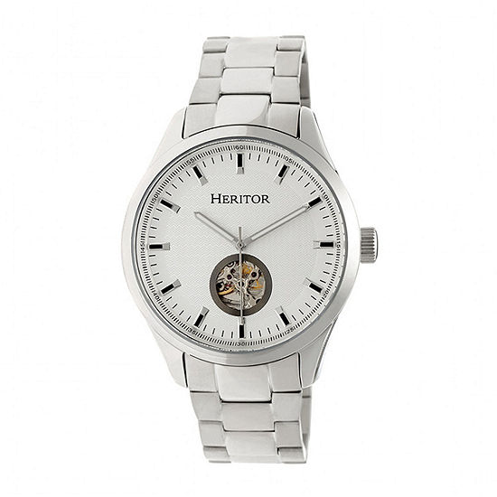 Heritor Unisex Adult Automatic Silver Tone Stainless Steel Bracelet Watch-Herhr7001