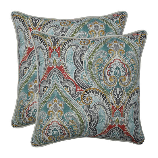 Pillow Perfect Pretty Witty Reef Set of 2 18.5-Inch Outdoor Throw Pillows