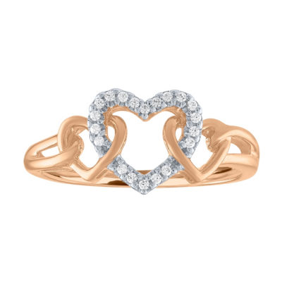 Womens Genuine Diamond 10K Gold Heart Cocktail Ring
