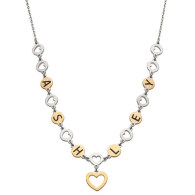 Personalized Womens 14K Gold Over Silver Sterling Silver Heart Pendant Necklace