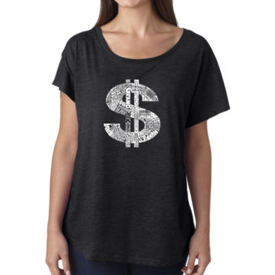 Los Angeles Pop Art Women's Loose Fit Dolman Cut Word Art Shirt - Dollar Sign