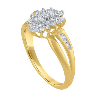 Womens 1/4 CT. T.W. White Diamond 10K Gold Cocktail Ring