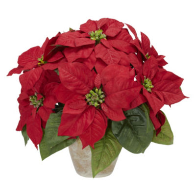 Nearly Natural Poinsettia with Ceramic Vase Silk Flower Arrangement