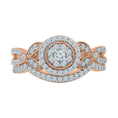 Womens 1/2 CT. T.W. White Diamond 10K Rose Gold Bridal Set