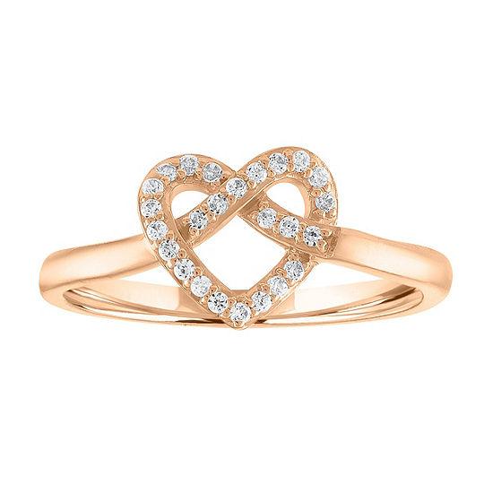 Womens Genuine Diamond 10K Rose Gold Heart Cocktail Ring