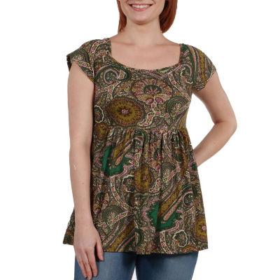 24Seven Comfort Apparel Marlowe Green Paisley Short Sleeve Tunic Top - Plus