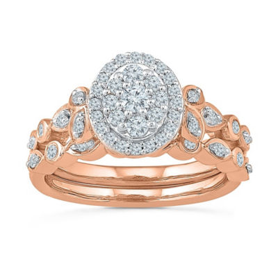Womens 1/2 CT. T.W. White Diamond 10K Rose Gold Bridal Set