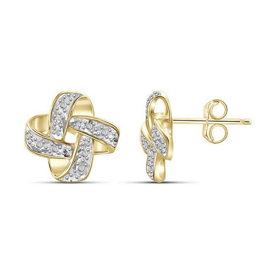 Diamond Accent White Diamond 14K Gold Over Brass 9.7mm Round Stud Earrings
