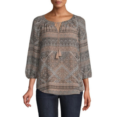 St. John's Bay 3/4 Sleeve Fitted Sleeve Paisley Peasant Top