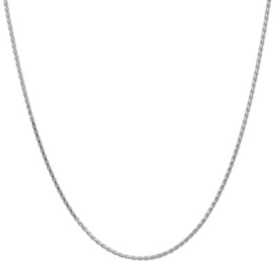 14K White Gold Solid Wheat 16 Inch Chain Necklace