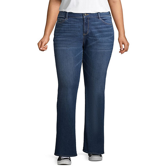 Arizona-Juniors Plus Womens Mid Rise Regular Fit Bootcut Jean