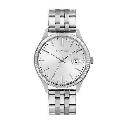 Caravelle Mens Silver Tone Bracelet Watch-43b163