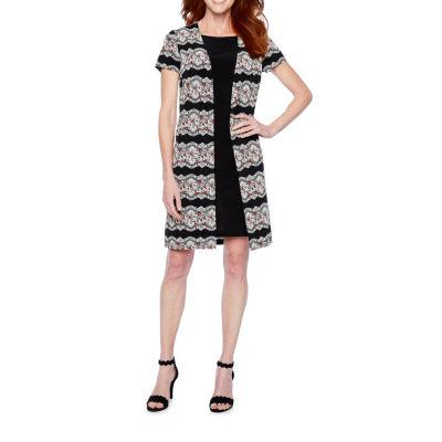 Perceptions Short Sleeve Puff Print Faux-Jacket Dress