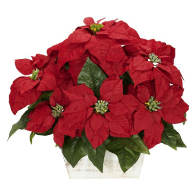 Nearly Natural Poinsettia Silk Floral Arrangements
