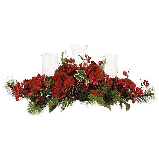 Nearly Natural Hydrangea Holiday Candelabrum Silk