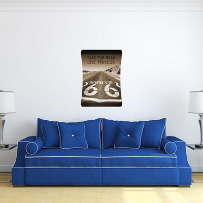 Metal Wall Art Home Decor Route 66 36x24 HD Curve