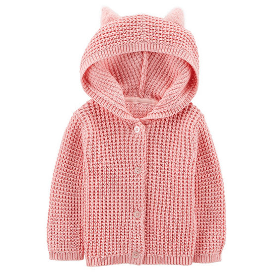 Carters Girls Hooded Neck Button Cardigan Baby