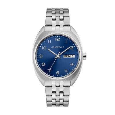 Caravelle Mens Silver Tone Bracelet Watch-43c120
