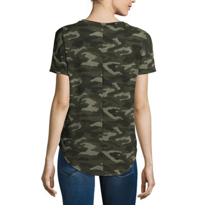 a.n.a Short Sleeve Split Crew Neck T-Shirt-Womens
