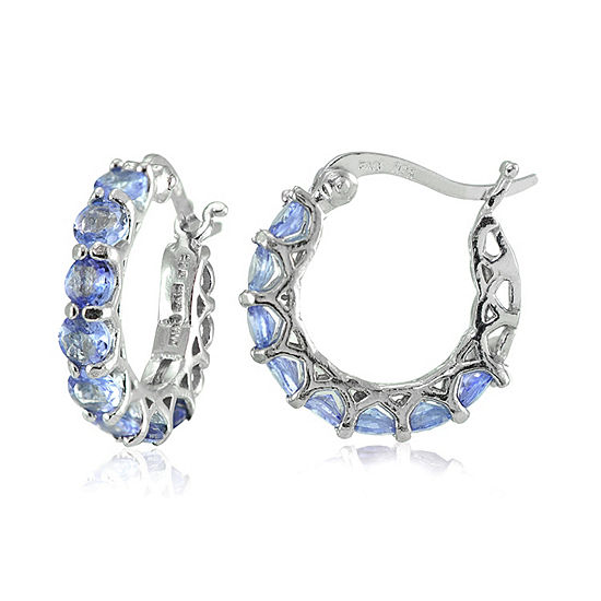 Blue Tanzanite Sterling Silver 17mm Hoop Earrings